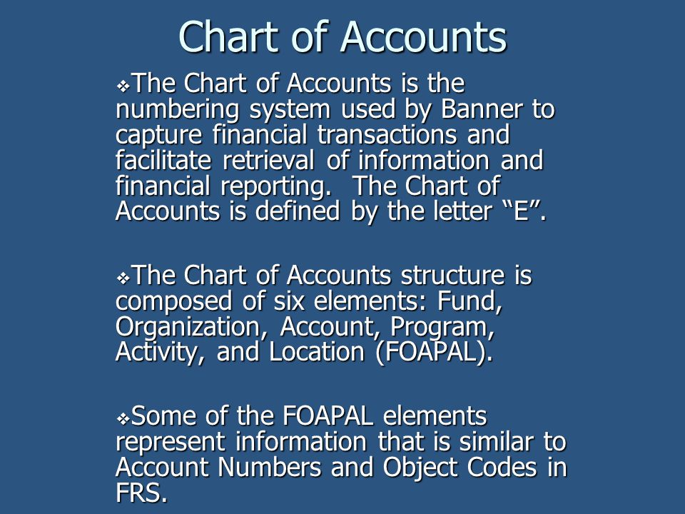 Program code Functional classifications of revenues and expenditures Like FRS Purpose Codes Defines NACUBO functions Examples are Instruction, Research, Libraries, Student Services etc.