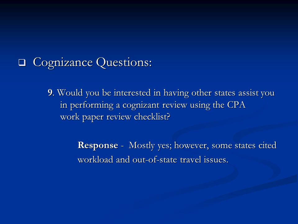  Cognizance Questions: 9.