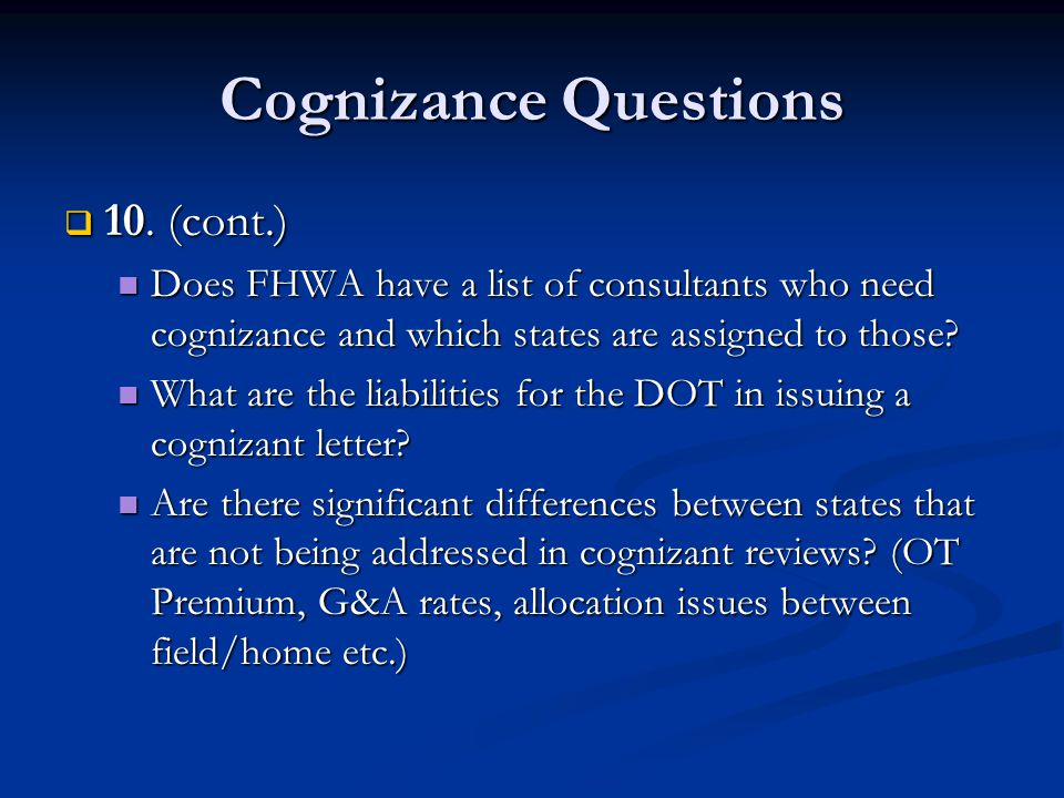 Cognizance Questions  10.