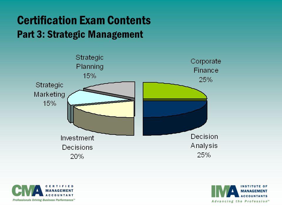 Certification Exam Contents Part 3: Strategic Management