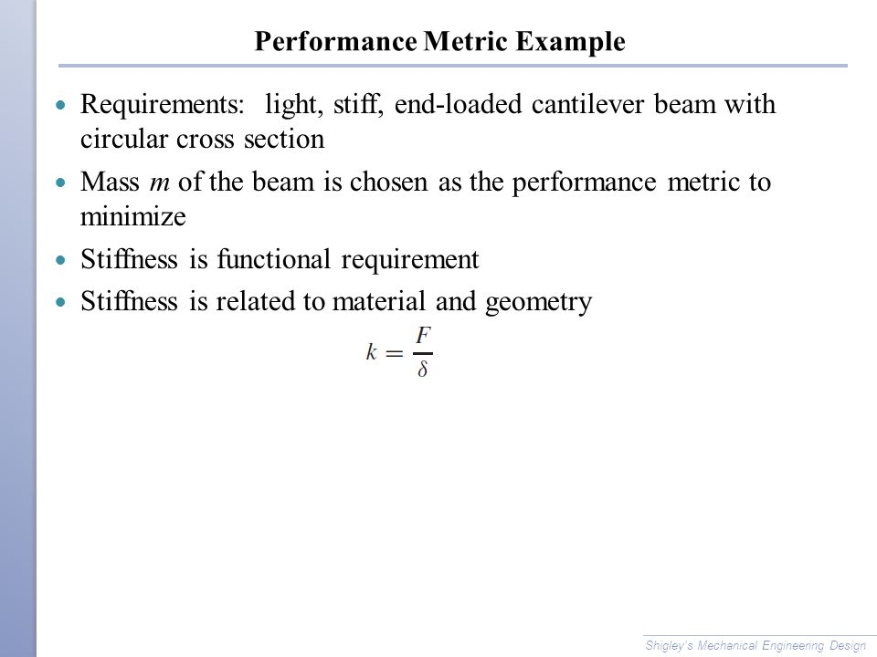 Performance Metric Example Requirements: light, stiff, end-loaded cantilever beam with circular cross section Mass m of the beam is chosen as the perf