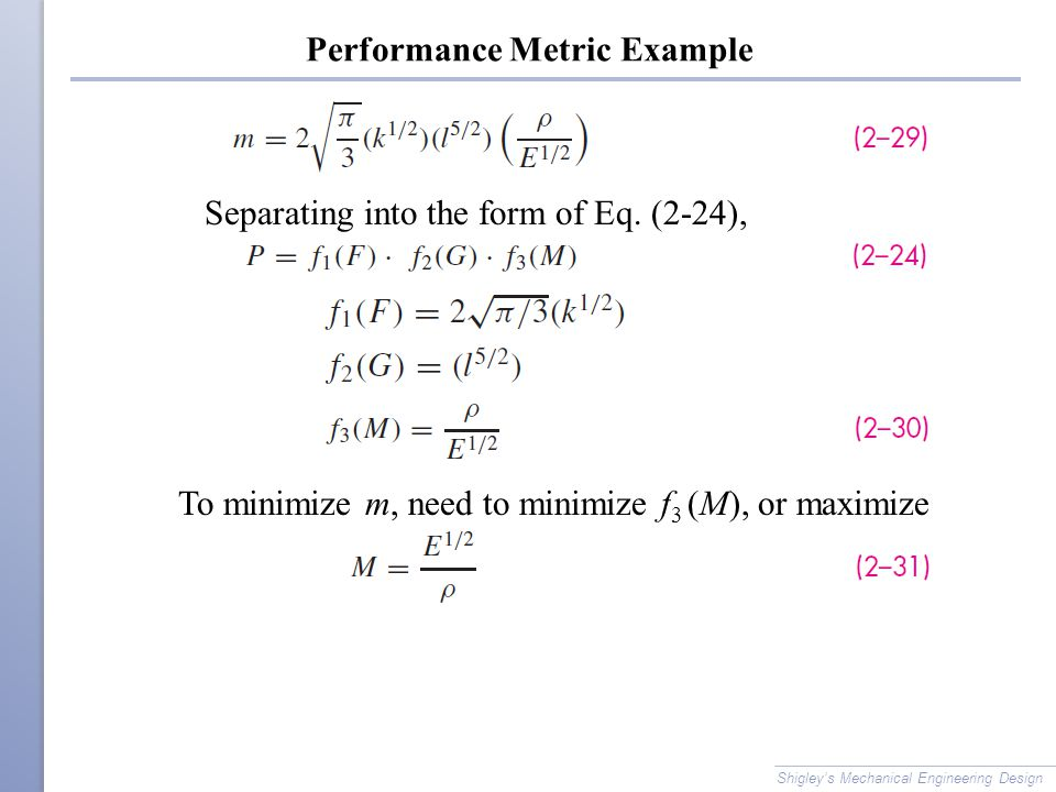 Performance Metric Example Shigley's Mechanical Engineering Design Separating into the form of Eq. (2-24), To minimize m, need to minimize f 3 (M), or
