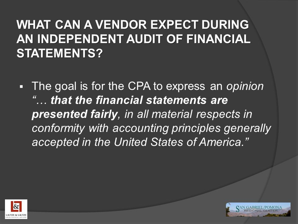 WHAT CAN A VENDOR EXPECT DURING AN INDEPENDENT AUDIT OF FINANCIAL STATEMENTS.