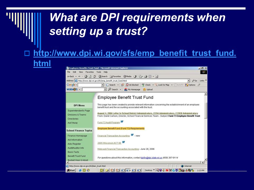 What are DPI requirements when setting up a trust.