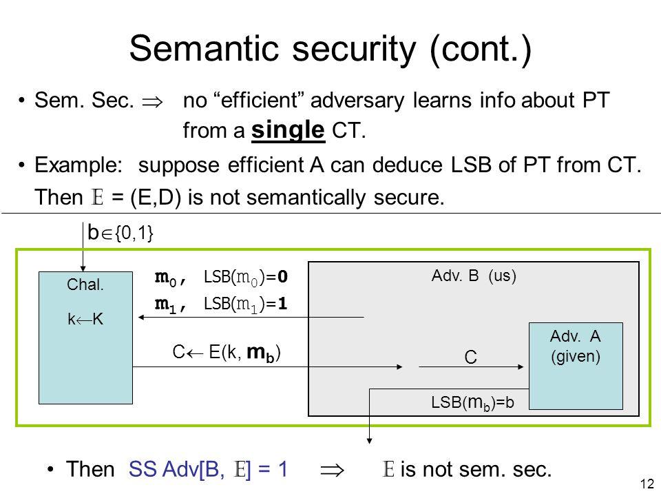 12 Adv. B (us) Semantic security (cont.) Sem. Sec.