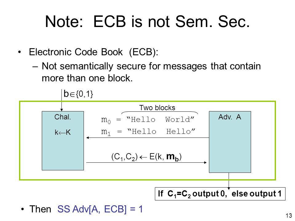 13 Note: ECB is not Sem. Sec.