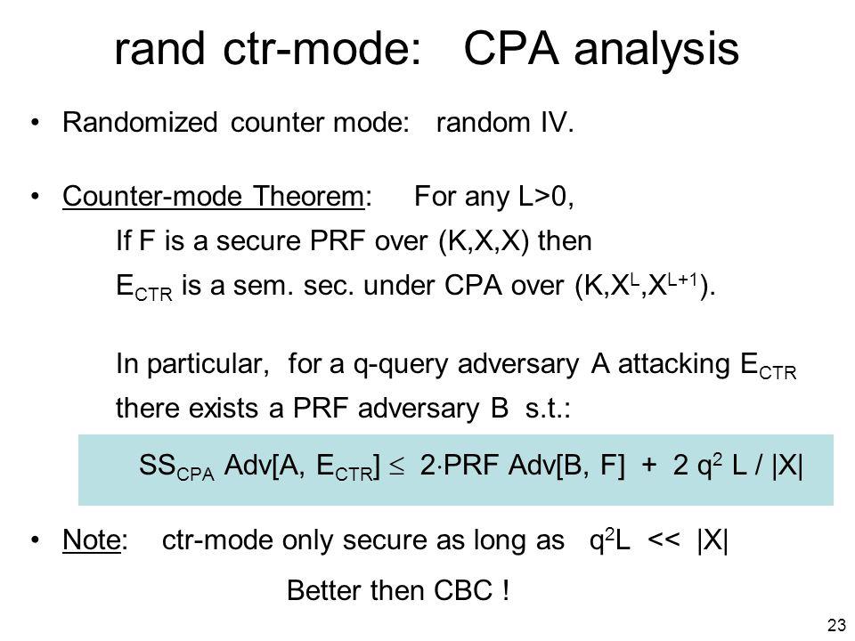 23 rand ctr-mode: CPA analysis Randomized counter mode: random IV.
