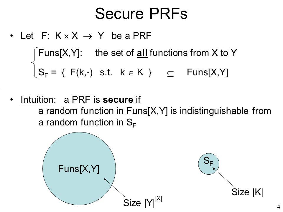4 Secure PRFs Let F: K  X  Y be a PRF Funs[X,Y]: the set of all functions from X to Y S F = { F(k,  ) s.t.