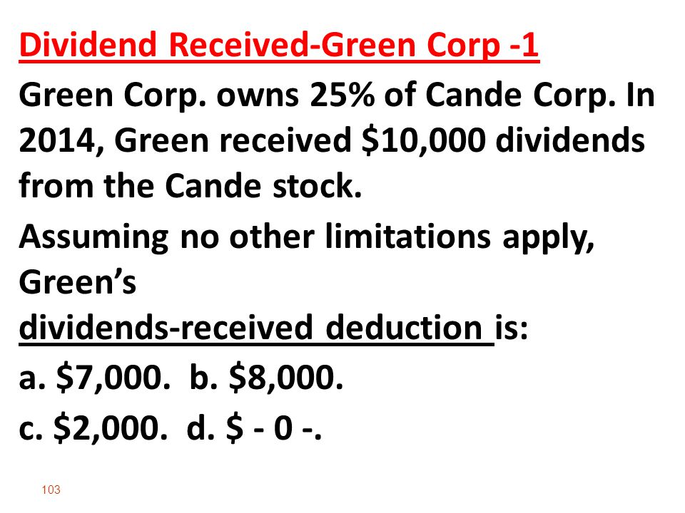 103 Dividend Received-Green Corp -1 Green Corp.owns 25% of Cande Corp.