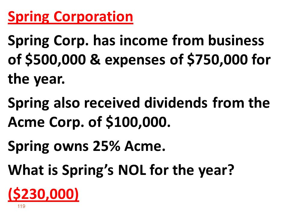119 Spring Corporation Spring Corp. has income from business of $500,000 & expenses of $750,000 for the year. Spring also received dividends from the