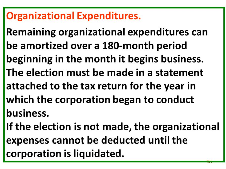 125 Organizational Expenditures. Remaining organizational expenditures can be amortized over a 180-month period beginning in the month it begins busin