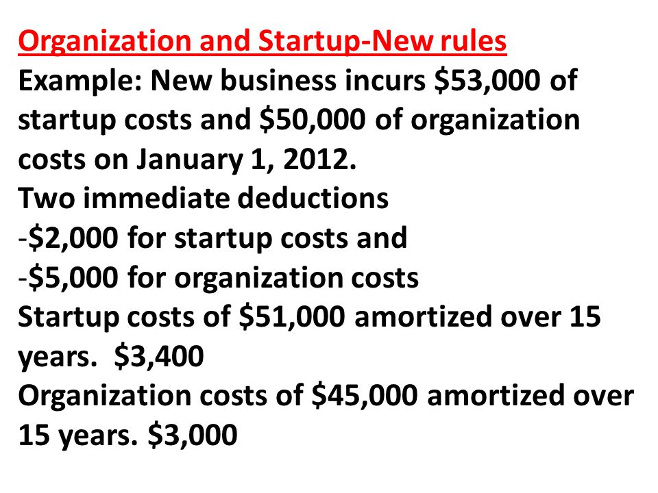 Organization and Startup-New rules Example: New business incurs $53,000 of startup costs and $50,000 of organization costs on January 1, 2012.