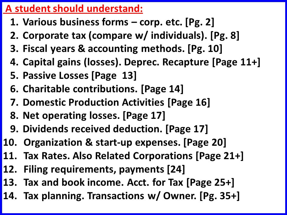 A student should understand: 1.Various business forms – corp.