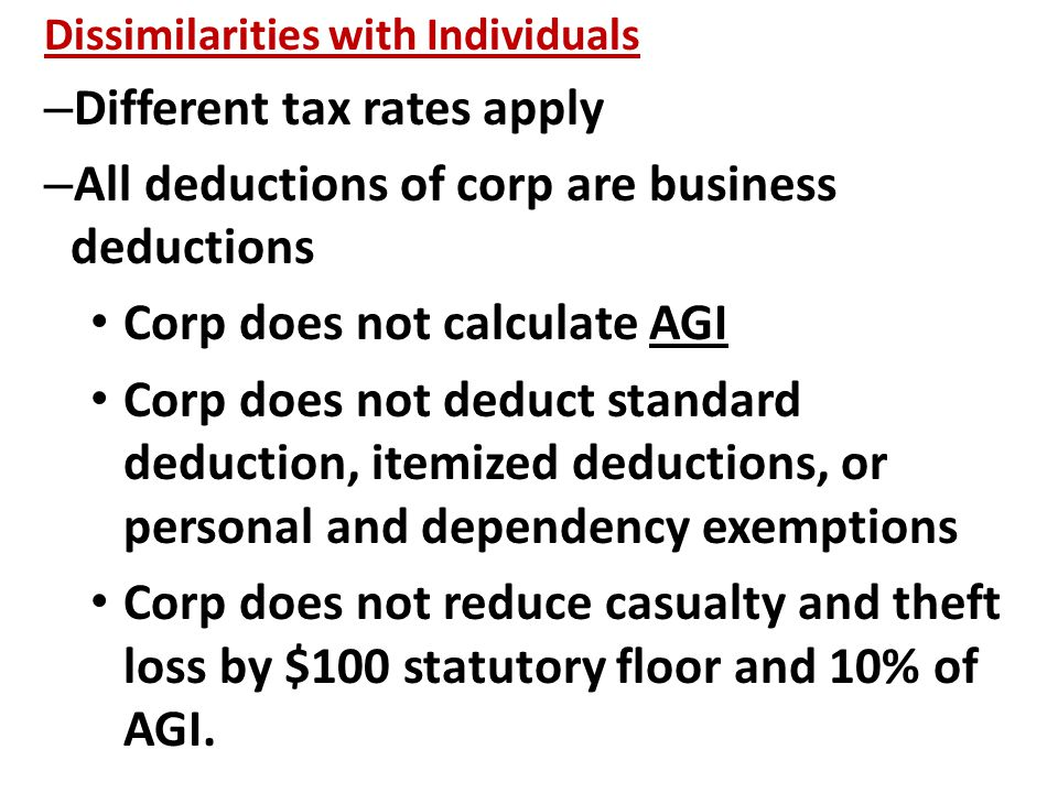 Dissimilarities with Individuals – Different tax rates apply – All deductions of corp are business deductions Corp does not calculate AGI Corp does not deduct standard deduction, itemized deductions, or personal and dependency exemptions Corp does not reduce casualty and theft loss by $100 statutory floor and 10% of AGI.