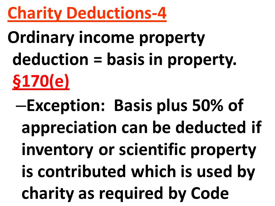 Charity Deductions-4 Ordinary income property deduction = basis in property.