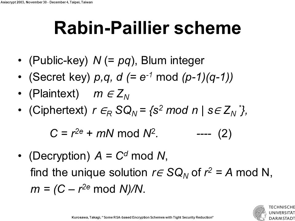 Kurosawa, Takagi, Some RSA-based Encryption Schemes with Tight Security Reduction Asiacrypt 2003, November 30 - December 4, Taipei, Taiwan Security of Rabin-Paillier Proposition 1 (Semantic Security) IND-CPA if {r 2e mod N 2 | r ∈ SQ N } and {r 2e mod N 2 | r ∈ SQ N 2 } are indistinguishable.