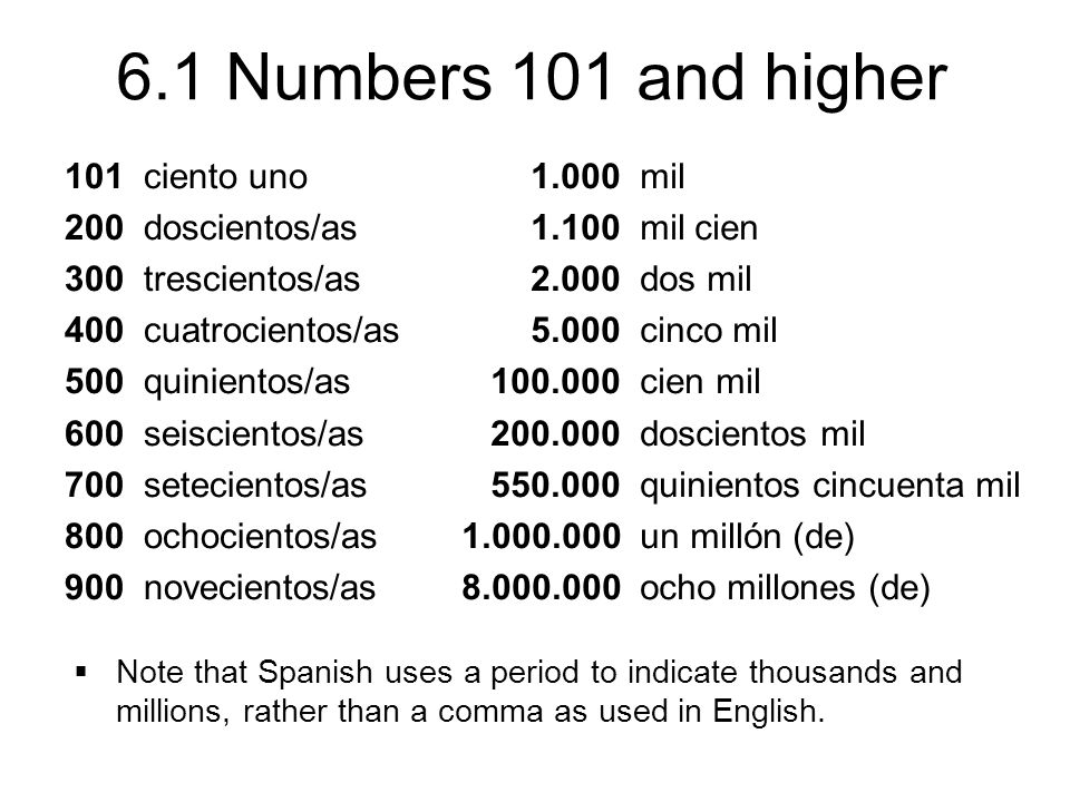 6.1 Numbers 101 and higher 101 ciento uno 200 doscientos/as 300 trescientos/as 400 cuatrocientos/as 500 quinientos/as 600 seiscientos/as 700 setecientos/as 800 ochocientos/as 900 novecientos/as 1.000 mil 1.100 mil cien 2.000 dos mil 5.000 cinco mil 100.000 cien mil 200.000 doscientos mil 550.000 quinientos cincuenta mil 1.000.000 un millón (de) 8.000.000 ocho millones (de)  Note that Spanish uses a period to indicate thousands and millions, rather than a comma as used in English.