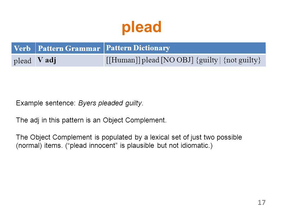 plead VerbPattern Grammar Pattern Dictionary plead V adj[[Human]] plead [NO OBJ] {guilty | {not guilty} 17 Example sentence: Byers pleaded guilty.