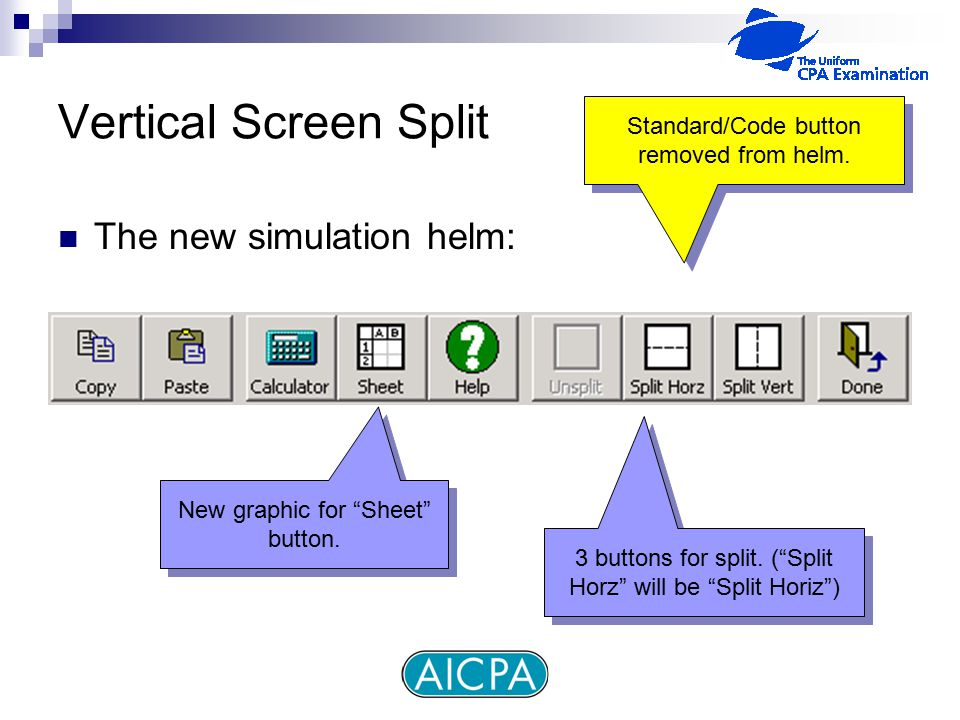 Vertical Screen Split The new simulation helm: New graphic for Sheet button.