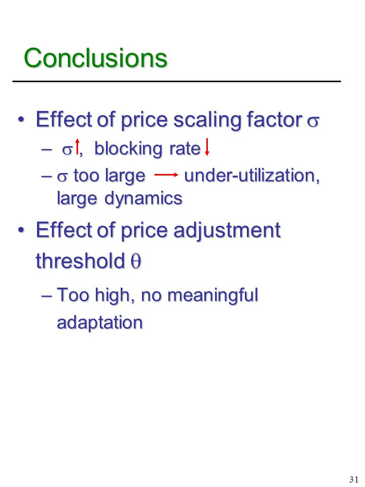 31 Conclusions Effect of price scaling factor Effect of price scaling factor  – , blocking rate –  too large under-utilization, large dynamics Effect of price adjustment threshold Effect of price adjustment threshold  –Too high, no meaningful adaptation