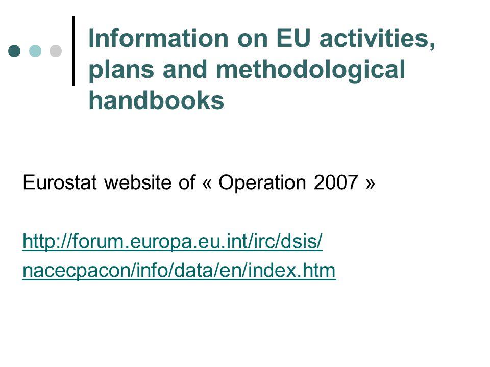 Information on EU activities, plans and methodological handbooks Eurostat website of « Operation 2007 » http://forum.europa.eu.int/irc/dsis/ nacecpacon/info/data/en/index.htm