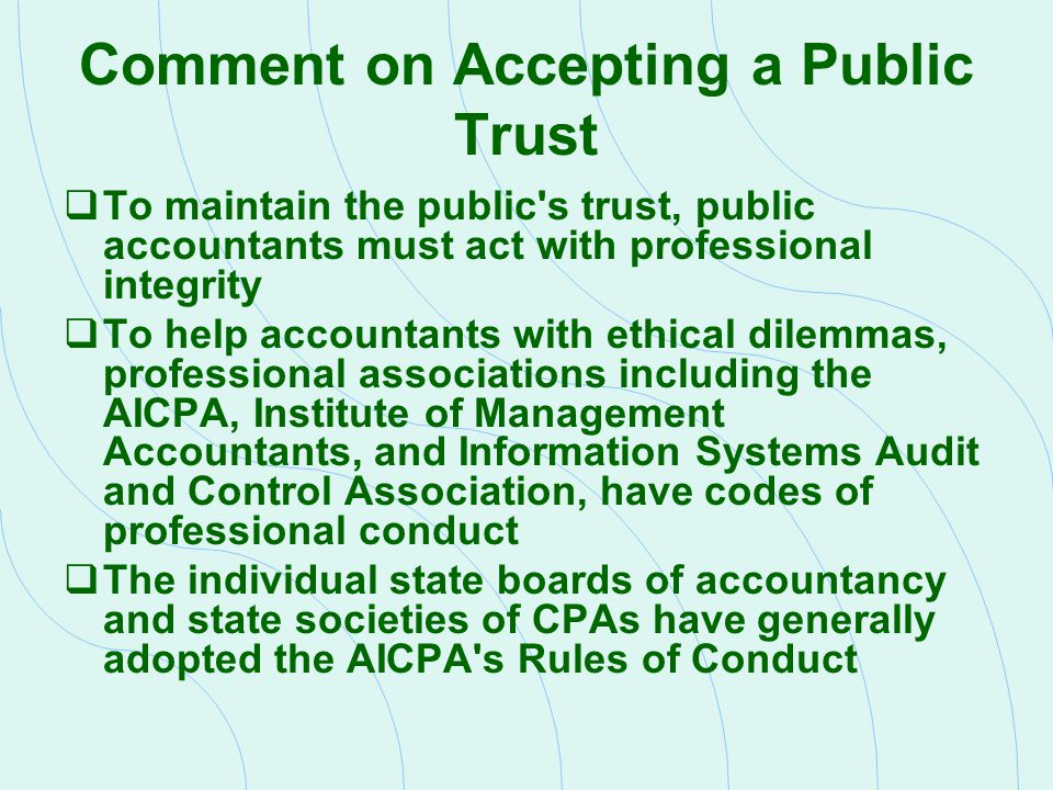 List the AICPA Rules of Conduct Rule 101: Independence Rule 102: Integrity and Objectivity Rule 201: General Standards Rule 202: Compliance with Standards Rule 203: Accounting Principles Rule 301: Confidential Client Information Rule 302: Contingent Fees Rule 501: Acts Discreditable Rule 502: Advertising and Other Forms of Solicitation Rule 503: Commissions and Referral Fees Rule 505: Form of Organization and Name