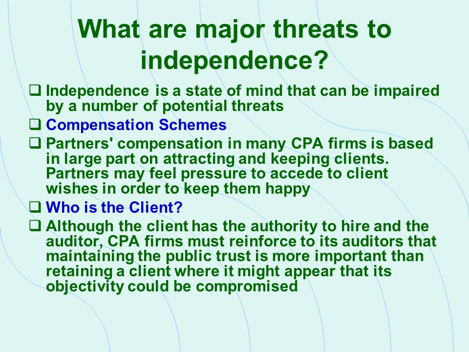Interpretations of Rule 101 - Employment  Independence would be considered impaired if a member holds management, employee, or director positions with attest clients during the period covered by the financial statements or the period of engagement.