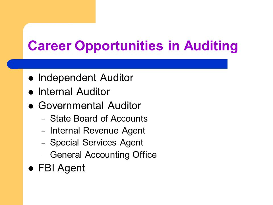 Career Opportunities in Auditing Independent Auditor Internal Auditor Governmental Auditor – State Board of Accounts – Internal Revenue Agent – Special Services Agent – General Accounting Office FBI Agent