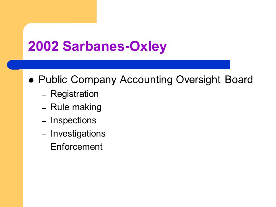 2002 Sarbanes-Oxley Public Company Accounting Oversight Board – Registration – Rule making – Inspections – Investigations – Enforcement
