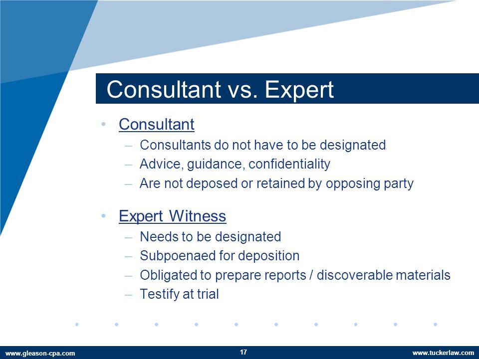 www.tuckerlaw.com www.gleason-cpa.com Consultant vs.