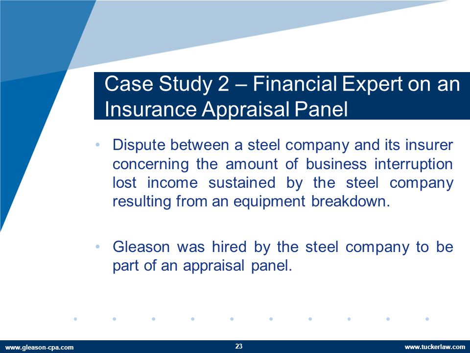 www.tuckerlaw.com www.gleason-cpa.com Case Study 2 – Financial Expert on an Insurance Appraisal Panel Dispute between a steel company and its insurer concerning the amount of business interruption lost income sustained by the steel company resulting from an equipment breakdown.