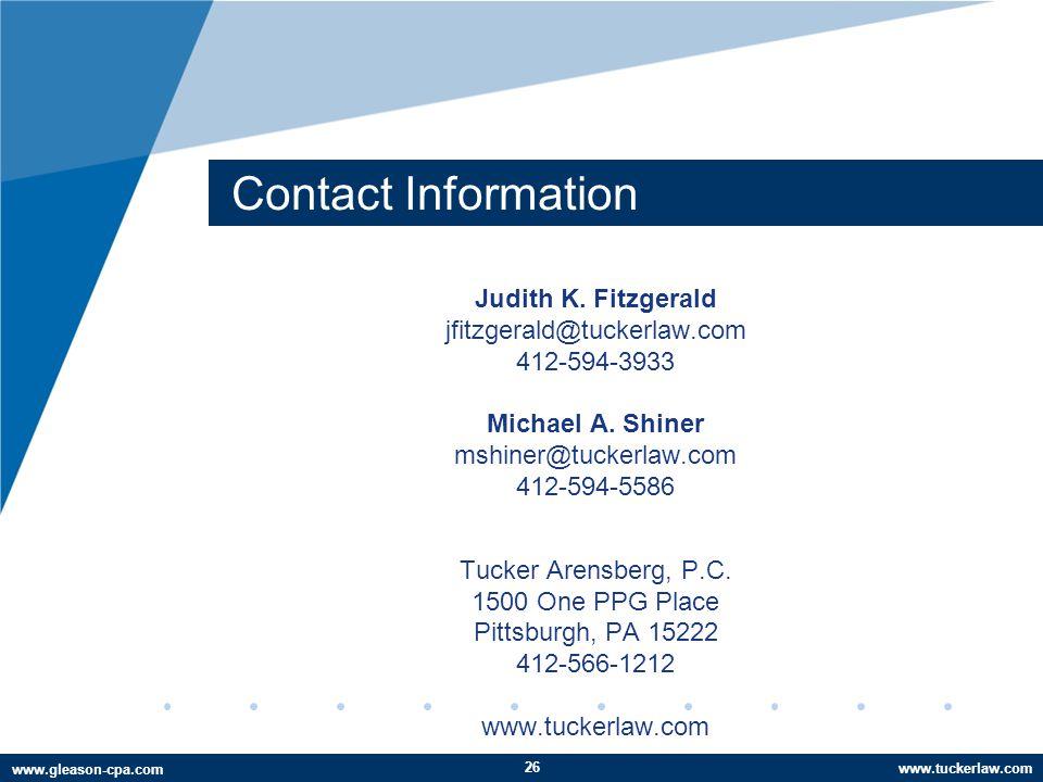 www.tuckerlaw.com www.gleason-cpa.com Contact Information Judith K.