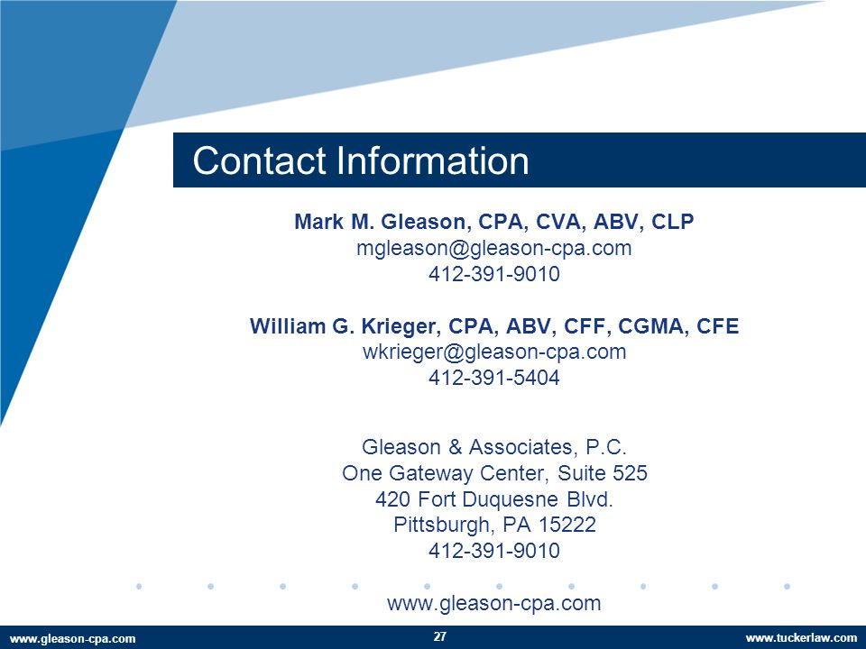 www.tuckerlaw.com www.gleason-cpa.com Contact Information Mark M.