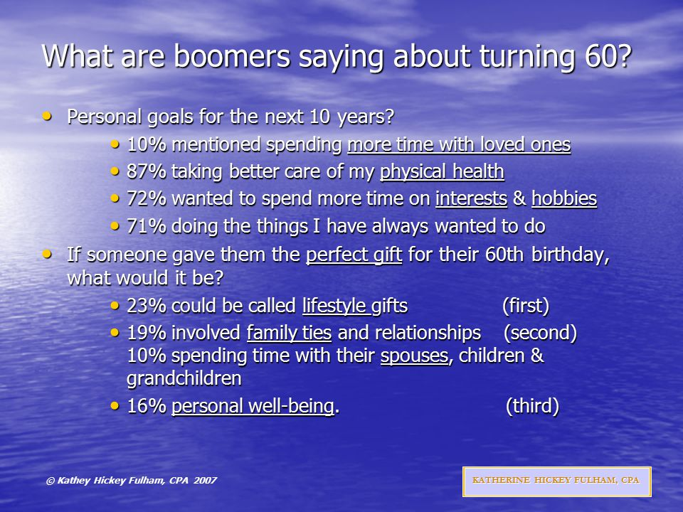 © Kathey Hickey Fulham, CPA 2007 KATHERINE HICKEY FULHAM, CPA What are boomers saying about turning 60.