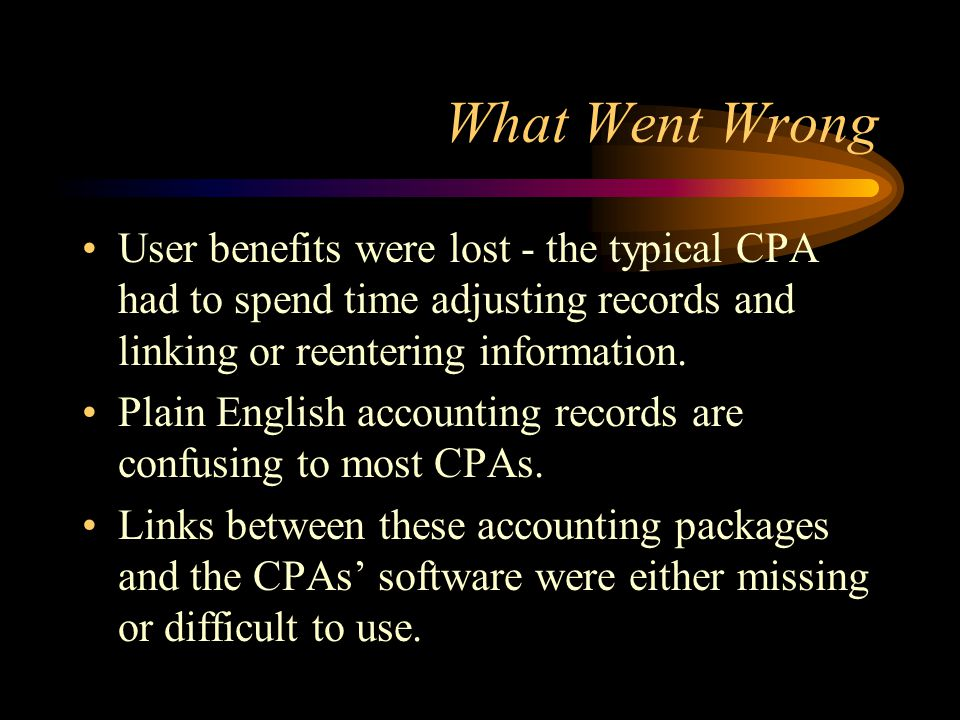 What Went Wrong User benefits were lost - the typical CPA had to spend time adjusting records and linking or reentering information.