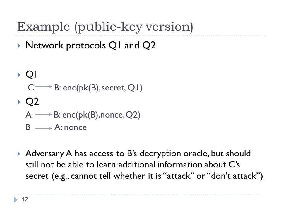 Example (public-key version)  Network protocols Q1 and Q2  QI C B: enc(pk(B), secret, Q1)  Q2 A B: enc(pk(B),nonce, Q2) B A: nonce  Adversary A ha