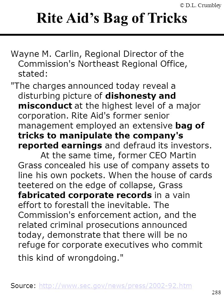 © D.L. Crumbley 288 Rite Aid's Bag of Tricks Wayne M. Carlin, Regional Director of the Commission's Northeast Regional Office, stated: