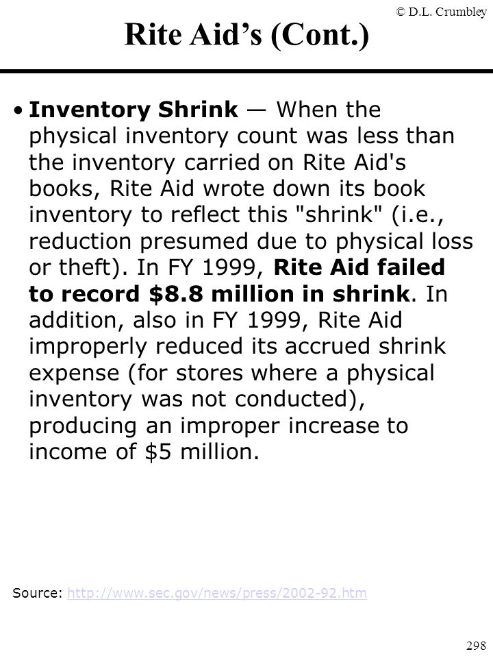 © D.L. Crumbley 298 Rite Aid's (Cont.) Inventory Shrink — When the physical inventory count was less than the inventory carried on Rite Aid's books, R
