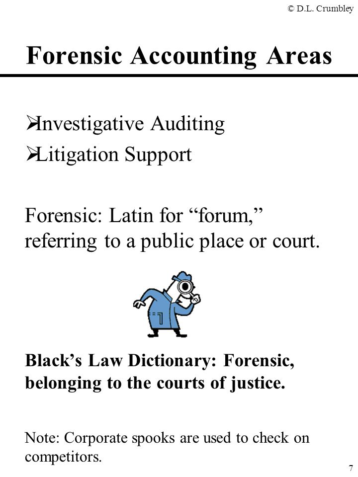 "© D.L. Crumbley 7 Forensic Accounting Areas  Investigative Auditing  Litigation Support Forensic: Latin for ""forum,"" referring to a public place or"