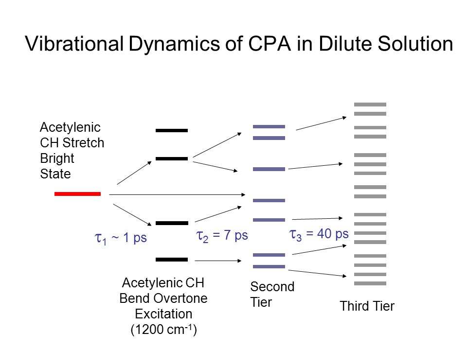 Vibrational Dynamics of CPA in Dilute Solution Acetylenic CH Stretch Bright State Acetylenic CH Bend Overtone Excitation (1200 cm -1 ) Third Tier  1