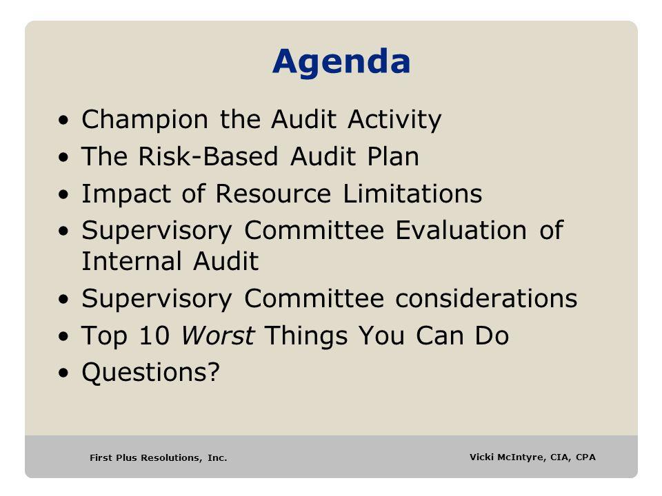 First Plus Resolutions, Inc.Vicki McIntyre, CIA, CPA Vicki A.