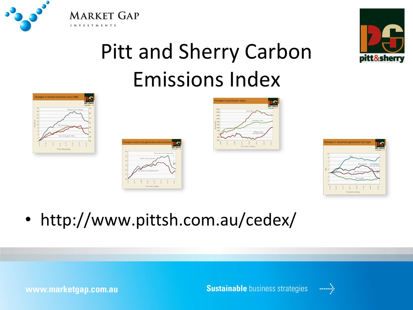 Pitt and Sherry Carbon Emissions Index http://www.pittsh.com.au/cedex/
