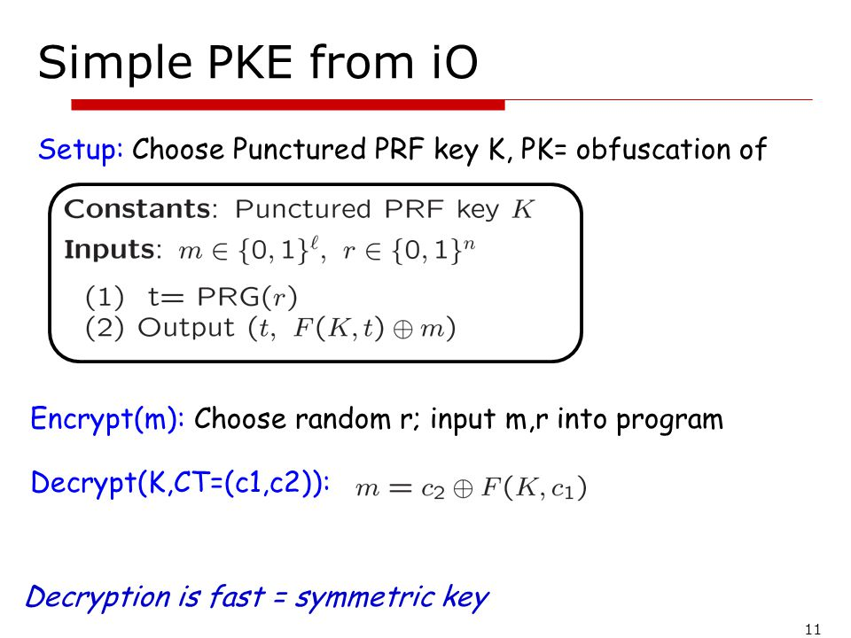 11 Simple PKE from iO Setup: Choose Punctured PRF key K, PK= obfuscation of Encrypt(m): Choose random r; input m,r into program Decrypt(K,CT=(c1,c2)):