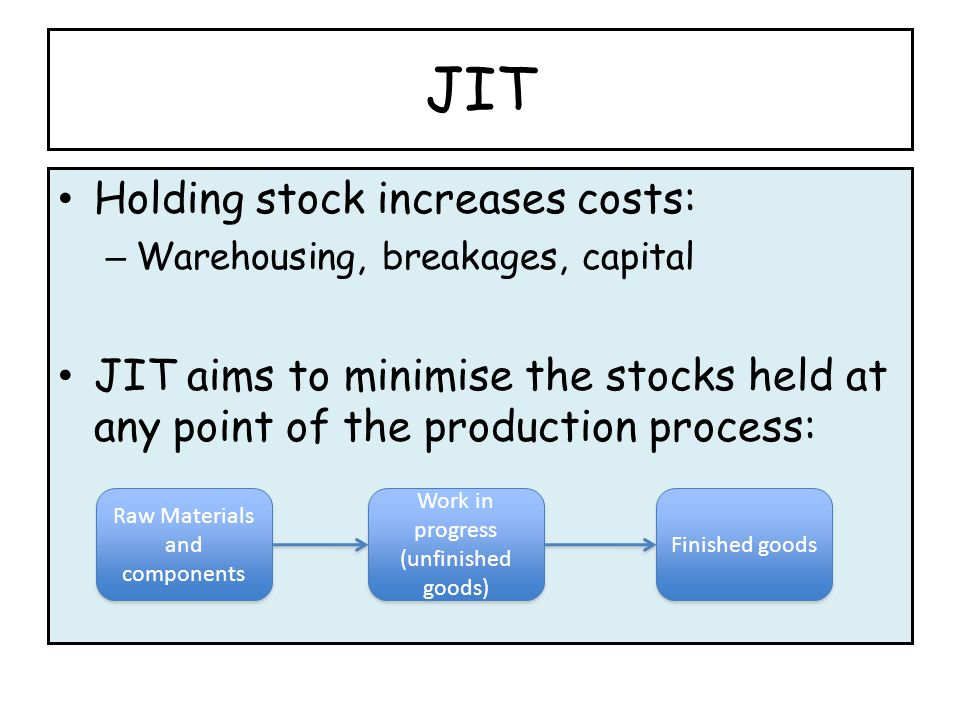 JIT Holding stock increases costs: – Warehousing, breakages, capital JIT aims to minimise the stocks held at any point of the production process: Raw Materials and components Work in progress (unfinished goods) Work in progress (unfinished goods) Finished goods