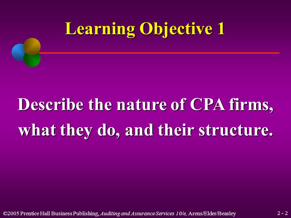 ©2005 Prentice Hall Business Publishing, Auditing and Assurance Services 10/e, Arens/Elder/Beasley 2 - 42 CPAs Encouraged to Conduct Themselves at a High Level Conduct of CPA firm personnel Legalliability Division of CPA firms Continuingeducationrequirements GAAS and interpretations Code of ProfessionalConduct CPAexamination Qualitycontrol Peerreview PCAOB and SEC