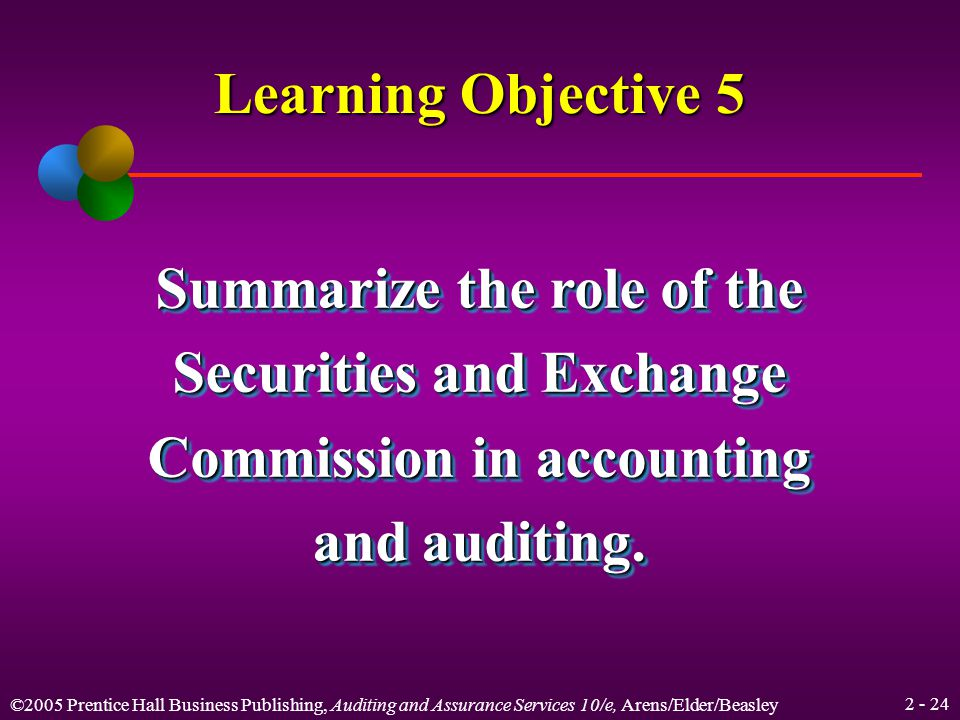 ©2005 Prentice Hall Business Publishing, Auditing and Assurance Services 10/e, Arens/Elder/Beasley Sarbanes-Oxley Act SEC PCAOB (5 members)