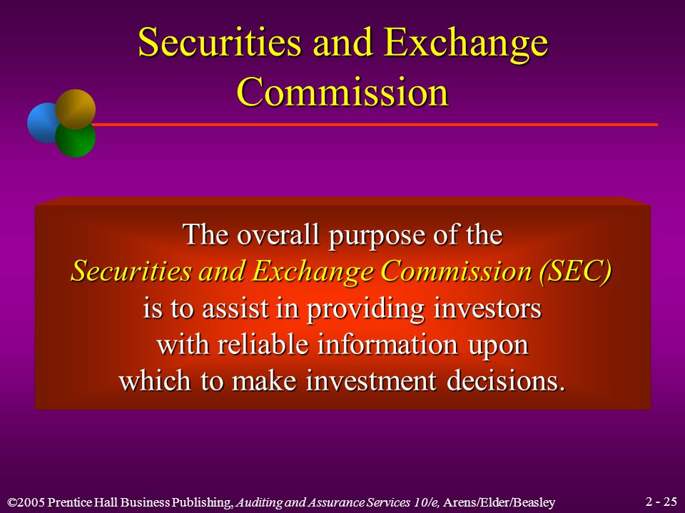 ©2005 Prentice Hall Business Publishing, Auditing and Assurance Services 10/e, Arens/Elder/Beasley Learning Objective 5 Summarize the role of the Securities and Exchange Commission in accounting and auditing.