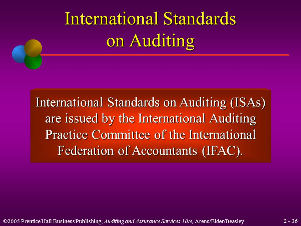 ©2005 Prentice Hall Business Publishing, Auditing and Assurance Services 10/e, Arens/Elder/Beasley Learning Objective 7 Discuss the role of international auditing standards.