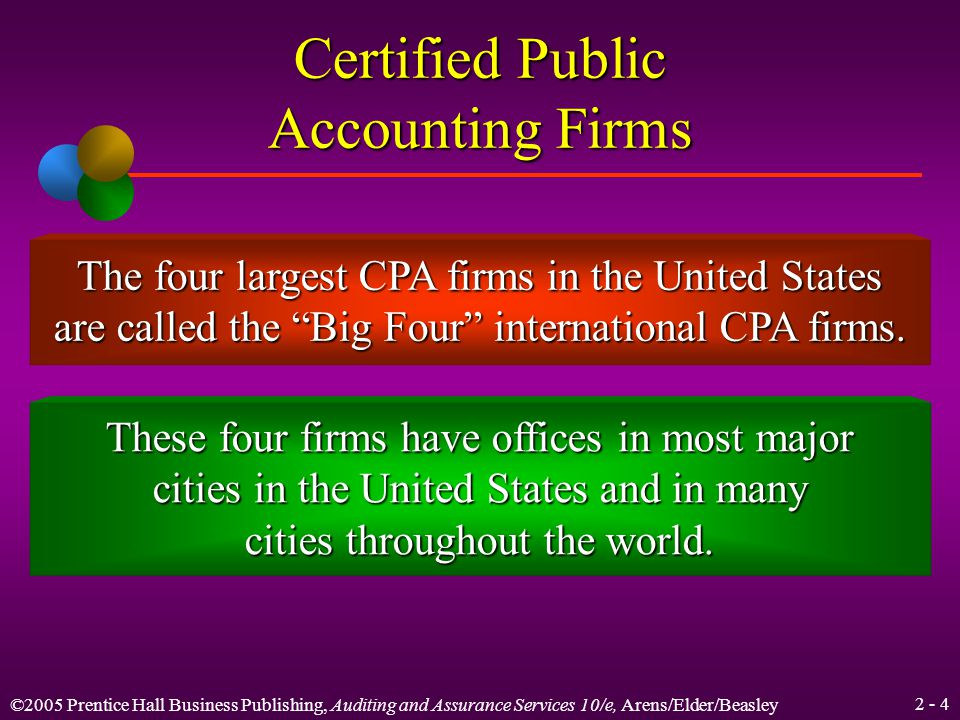 ©2005 Prentice Hall Business Publishing, Auditing and Assurance Services 10/e, Arens/Elder/Beasley 2 - 4 Certified Public Accounting Firms The four largest CPA firms in the United States are called the Big Four international CPA firms.