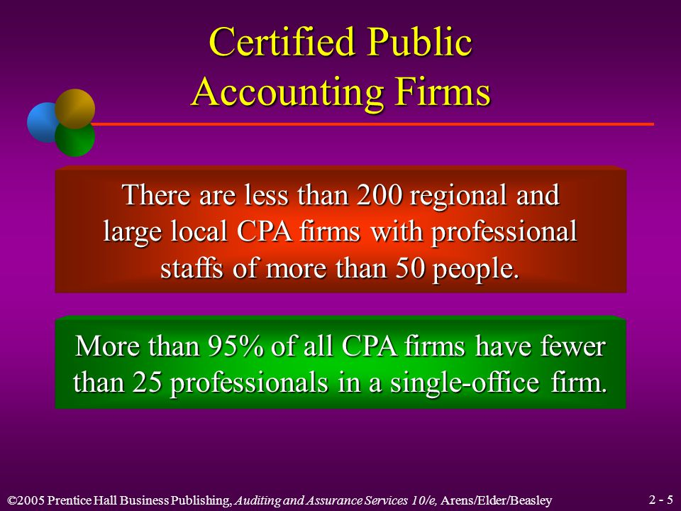 ©2005 Prentice Hall Business Publishing, Auditing and Assurance Services 10/e, Arens/Elder/Beasley 2 - 5 Certified Public Accounting Firms There are less than 200 regional and large local CPA firms with professional staffs of more than 50 people.